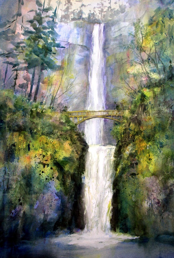 Multnomah Falls 10 - signed watercolor print - Bonnie White - Columbia Gorge - National Scenic Area - watercolor paintings