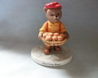 "Bronson Collectibles Nursery Rhyme Bears ""Hot Cross Buns"" Figurine, Bear Figurines, Nursery Rhymes, Hot Cross Buns"