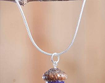 Real Acorn Necklace with Amethyst + Sterling Silver handmade by Nuttier Than A Squirrel | purple, violet, lilac, lavender, February birthday