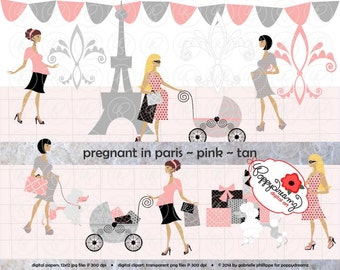 Pregnant In Paris Pink Tan Skin Tones: Clip Art Pack Card Making Digital Maternity Fashion French Poodle Baby Shower Pink & Black