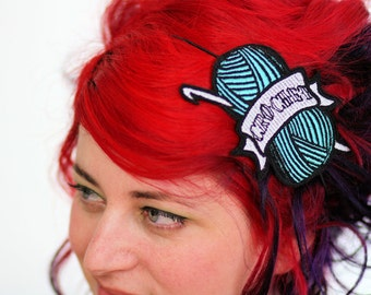 CROCHET Headband, Turquoise, Retro Tattoo Inspired- Black FRiday Cyber Monday