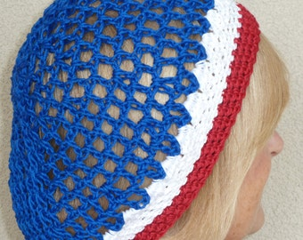 Patriotic crochet hat, original soft cotton open weave hat, unique red, white and blue modified slouchy hat, gift for her, free shipping USA