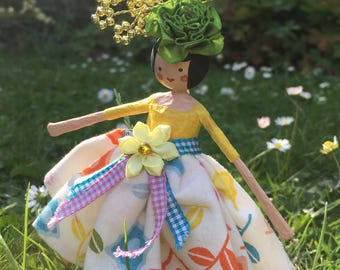 Hand made papier maché flower fairy doll