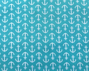 Aqua Nautical anchors, Baby Nautical fabric 100% cotton fabric for all sewing projects