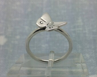 Butterfly ring, silver, handmade, gift boxed, free post. Stacking ring.