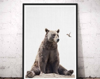 Bear Print, Nursery Wall Art, Woodland Nursery Decor, Printable Poster, Kids Room Decor, White Rustic Wall Art, Woodland Nursery Animal