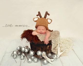 Reindeer  Hat , Christmas hat , knitted newborn hat
