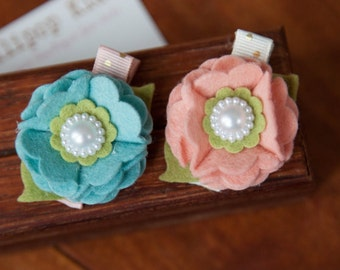 Toddler Hair Clip Baby Hair Clip Infant Hair Clip Kids Hair Clip Peach Blue Green Wool Felt Flower Hair Clip