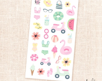 Poolside deco stickers - 29 cute summer stickers / planners, journaling