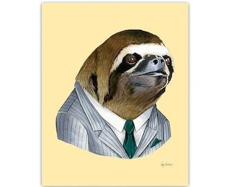Sloth Portrait animal art print by Ryan Berkley 5x7