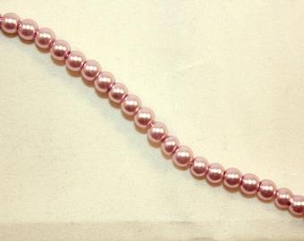 lot 50 pink imitation Pearl old (B15394) 4 mm glass pearls