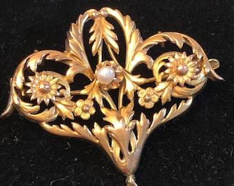 Gold 18 k pendant 18 K Gold brooch Victorian brooch antique victorian