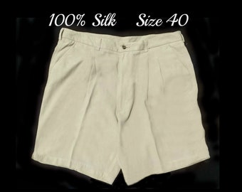 Tan golf shorts men -size 40 shorts men - vintage Haggar shorts men , casual shorts tan, men's tan shorts - 100% silk - # 55
