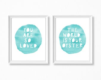 You Are So Loved, Boy Nursery Printable Set, Turquoise Nursery Decor, Aqua Nursery Decor, Baby Shower Gift, Turquoise Prints Set, Aqua Art