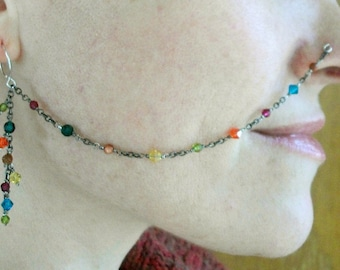 Sterling Silver-Antiqued-Mix Color-Swarovski Crystal-Nose Chain / Free US Shipping