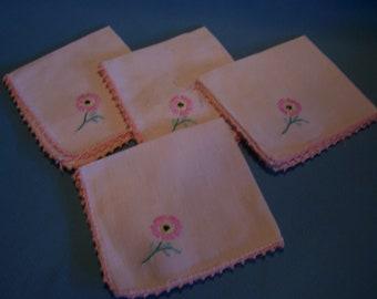 Four Pink Linen Napkins