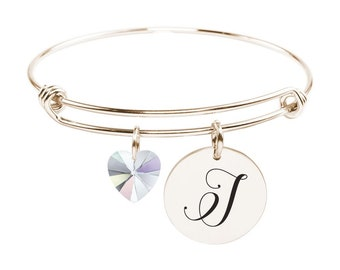 Initial Bangle made with Crystals from Swarovski - J - SWABANGLE-RGD-AB-J - Gold