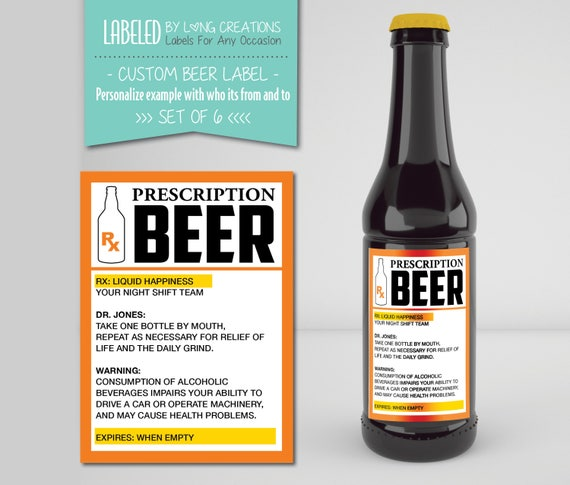 Beer prescription label funny beer labels gift for dad publicscrutiny Image collections