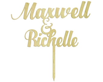 Wedding Cake Topper, Personalized Name Cake Topper, Custom Wood Cake Topper, Wooden Cake Topper, Rustic Topper, Engagement Gift CATO-W9