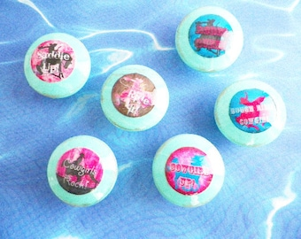 """Cowgirls Rock Dresser Knobs. Decoupaged Decorative Distressed Cabinet Pulls or Nail Covers Hand Decorated Decoupage 1-1/4"""" x 1"""""""