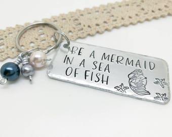 Mermaid keyring, Mermaid gift, Lets be mermaids, Mermaid keychain, Birthday gifts for her,  stocking filler, Secret Santa, Valentines