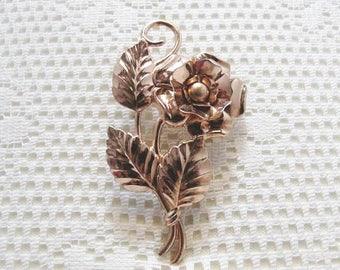 Rose Gold Vermeil Floral Brooch / Vermeil Sterling Brooch / 1940's Art Nouvau Repousse Brooch