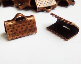 20 10x7mm copper Red Ribbon ties
