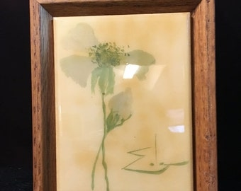 ON SALE 1983 Vintage Kimberly Enterprises - Tile Art in Oak Frame - Flowers