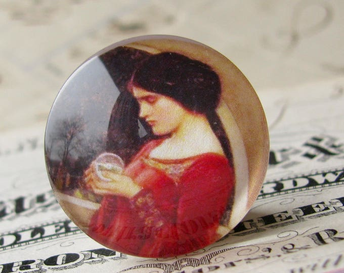 """John William Waterhouse """"The Crystal Ball"""" 25mm glass cabochon, artisan crafted, Art History collection, 1 inch circle, bottle cap size"""