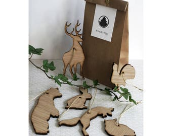 Wooden forest animals–family 1
