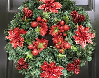 Large Christmas Wreath For Front Door, Red and Pine Wreath Traditional Wreath Holiday Wreath Christmas Wall Decor