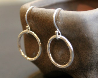 Circle Textured Minimalist Sterling Silver Earrings