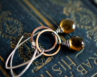 Whiskey Quartz Earrings, Hoop Earrings, Dangle Earrings, Sterling Silver, Brass Hoop, Caramel Brown, Birthday Gift, Earth Tones, PoleStar