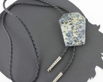 Midnight Blue Gray & White Speckled Stone Western Black Leather Braided Bolo Tie