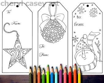 Printable coloring page christmas gift tags 3 large cheryl printable coloring page christmas gift tags 3 large cheryl casey art digistamp digital stamp negle Images