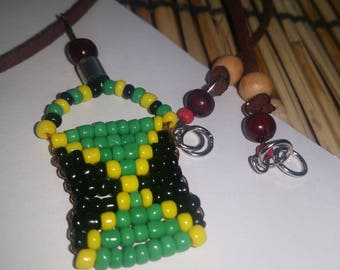 Jamaican , Flag, Green ,yellow ,black, Necklace