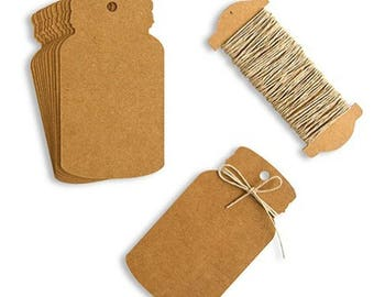 Mason Jar Tags - Set of 12 - Kraft Paper Tag With Twine Rustic Country Wedding Favor Decorations MW26120