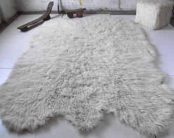 3u0027x 5u0027 Natural Sheepskin Shape Flokati Rug. Super Thick 3.25