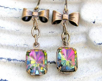 Rainbow Vintage Earrings, Petite Earrings