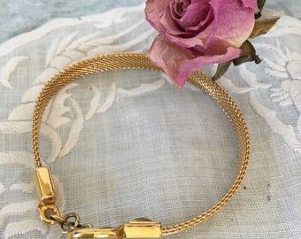 """Vintage Gold Monet Toggle Bracelet. Gold Metal Mesh Bracelet With Toggle Clasp. 7 1/4"""" Bracelet."""