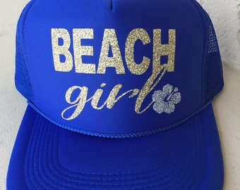 Beach girl hat-beach girl-beach hat-beach-summer hat-tropical-summer trucker hat-beach apparel-birthday gift