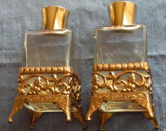 Pair of Pretty Vintage Ormalu Vanity Bottles!