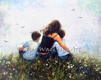 Mother and Two Sons Art Print, mom, two boys, brunette mother, mom hugging sons, loving mother, mother's day gift, mum art,  Vickie Wade Art