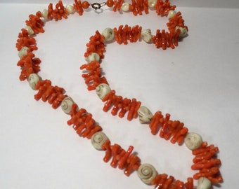 Vintage Faux Coral and Seashell Necklace