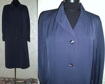 Coat,Vintage 1970s Overcoat, Midnight blue Vintage Overcoat,Thin overcoat, Stylish overcoat,Size M