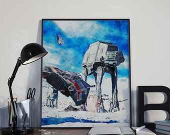 AT-AT Star Wars Art Print Poster - Episode V The Empire Strikes Back PRINTABLE 8x10 inches - Ideal Last Minute Gift, Printable Gift