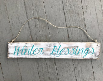 Winter Blessings Rustic Sign, Handmade Rustic Sign, Winter Home Decor, Winter Signs, Gift Ideas, Distressed Signs, Custom Signs, Pallet Sign