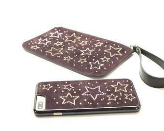 Cover per iPhone 7/8 Plus con inserto in pelle + Pochette borsetta portacellulare in pelle made in italy