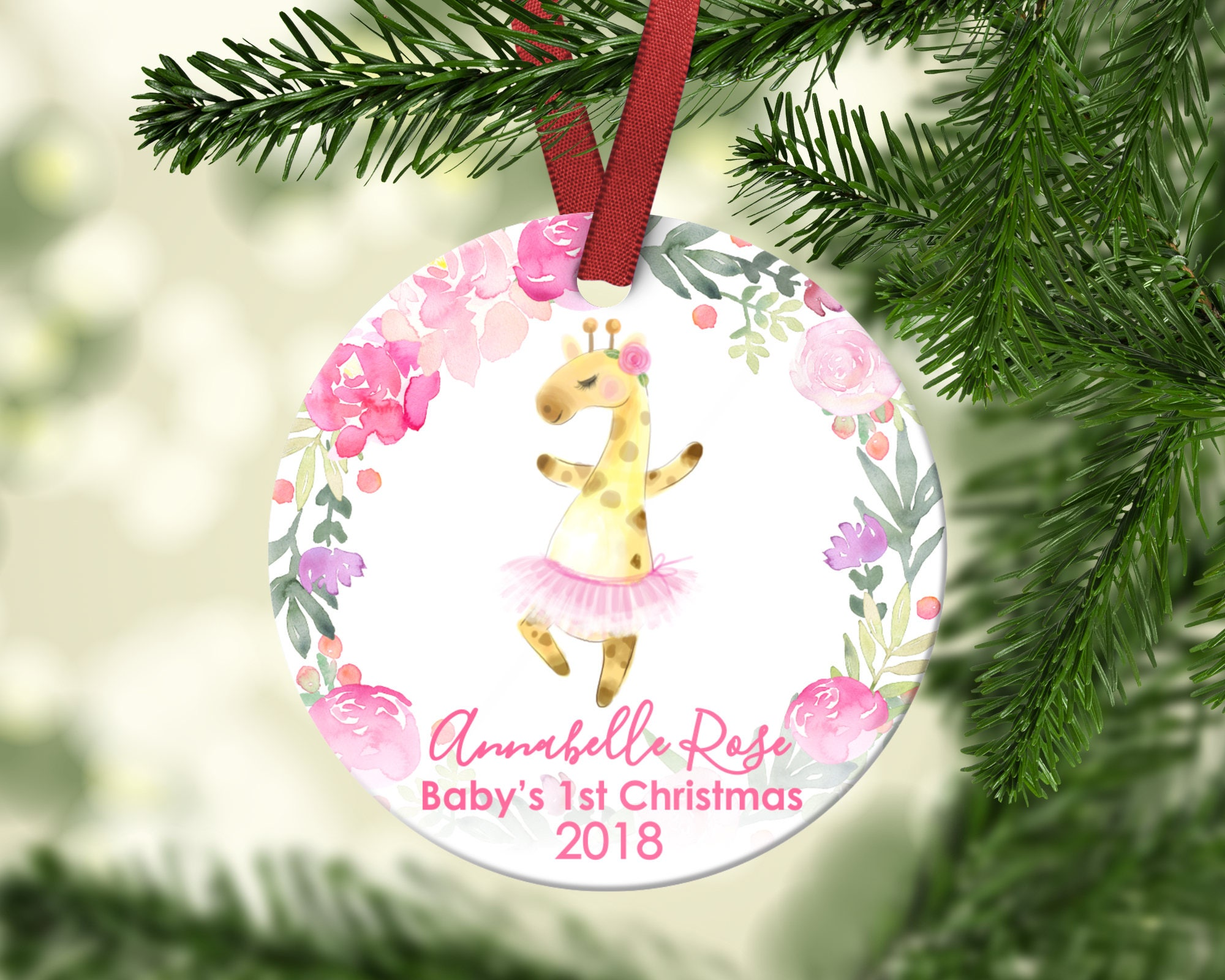 Baby\'s first Christmas ornament.Baby Giraffe.Christmas