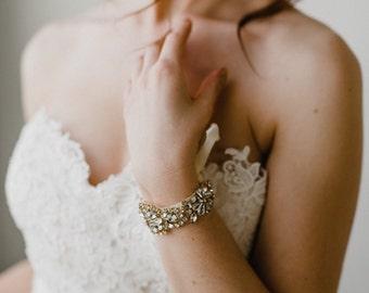 Gold Wedding Cuff   Gold Bridal Cuff   Bridal Cuff Bracelet   Wedding Cuff Bracelet   Rhinestone Gold Bracelet   Gold Gemma Bracelet